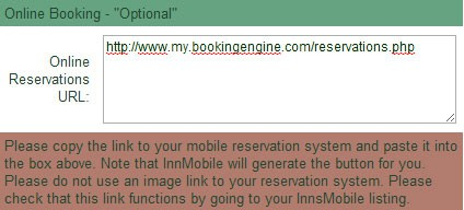 Booking engine interface at InnsMobile